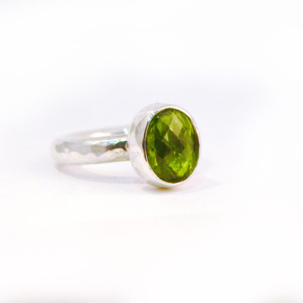 silver and peridot ring